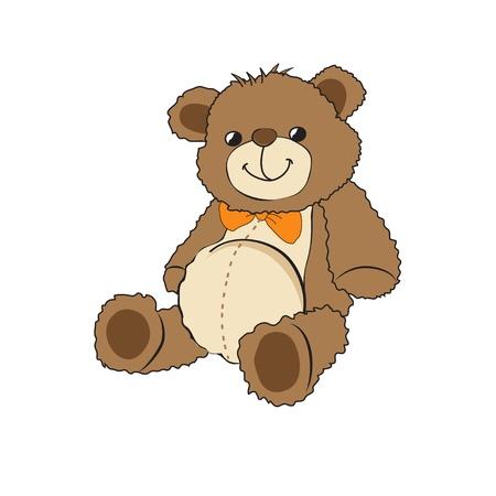 oso caricatura: Lindo osito de peluche en el fondo blanco Vectores