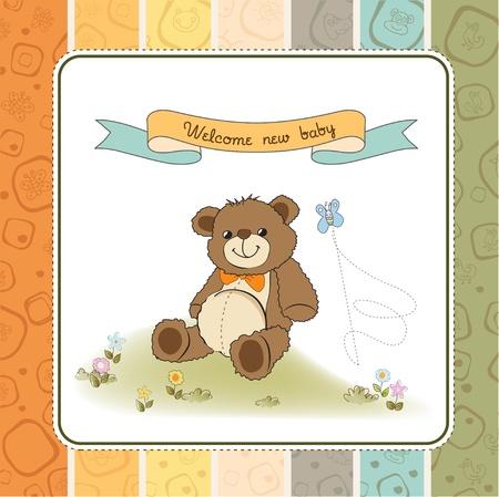 cute teddy bear: baby shower card with cute teddy bear toy Illustration