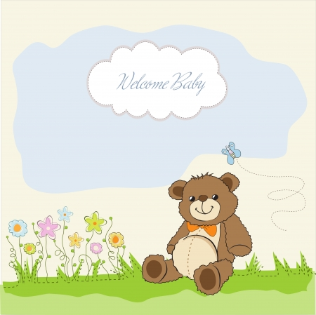 baby shower card with cute teddy bear toy Stock Vector - 14662009