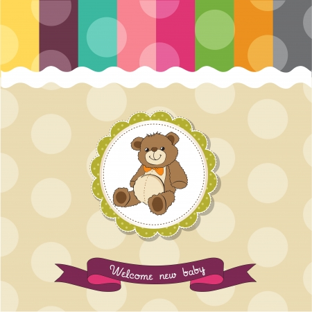 infant: baby shower card with cute teddy bear toy Illustration