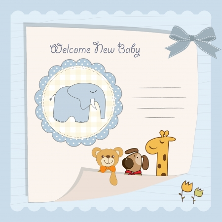 baby elephant: baby boy shower card