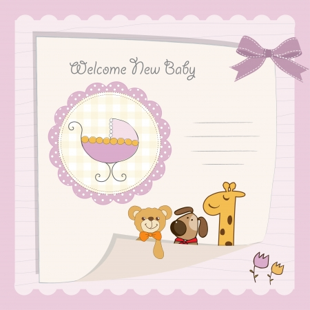 happy birthday girl: baby girl shower card Illustration