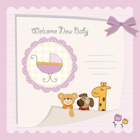 baby girl shower card 向量圖像