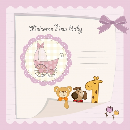 baby girl background: baby girl shower card Illustration
