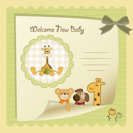 cute baby girls: baby shower card Illustration