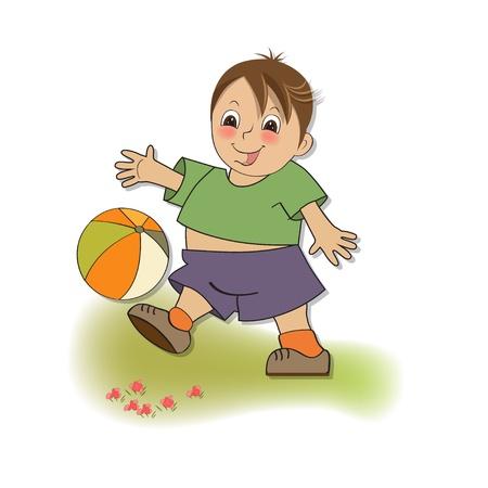 boy ball: little boy playing ball Illustration
