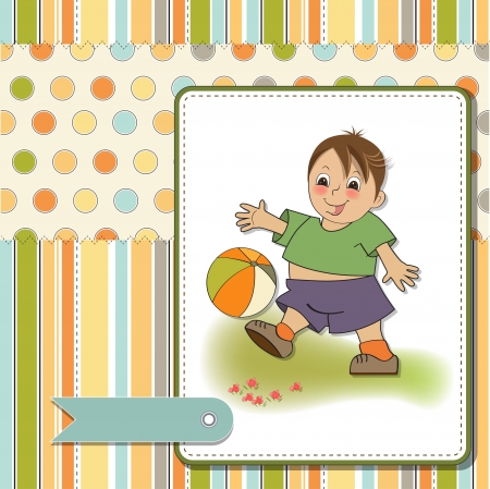 play ground: little boy playing ball Illustration