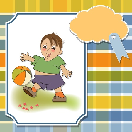 little boy playing ball Illustration