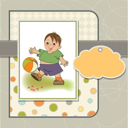 terrain foot: petit garçon jouant à la balle Illustration