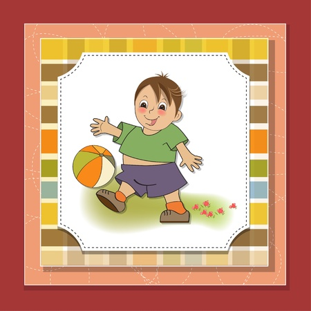 small children: little boy playing ball Illustration