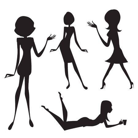 silhouette of women Vector