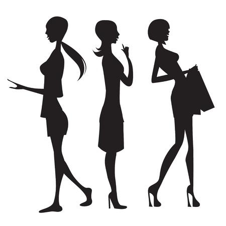 silhouet van de vrouw Stock Illustratie
