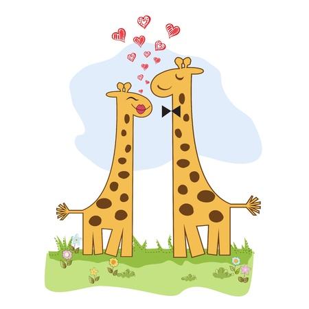 Funny giraffe couple in love Stock Vector - 14771053