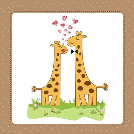 Funny giraffe couple in love Stock Vector - 14771057