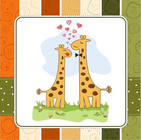 Funny giraffe couple in love Stock Vector - 14771069