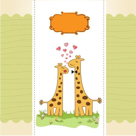 Funny giraffe couple in love Stock Vector - 14771059