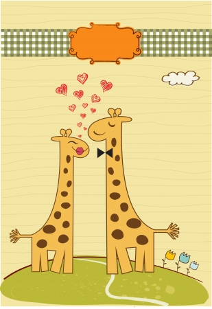 Funny giraffe couple in love Vector