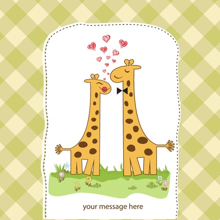Funny giraffe couple in love Vector
