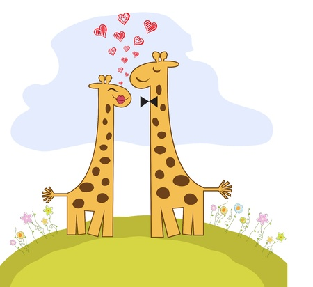 Funny giraffe couple in love Stock Vector - 14771054