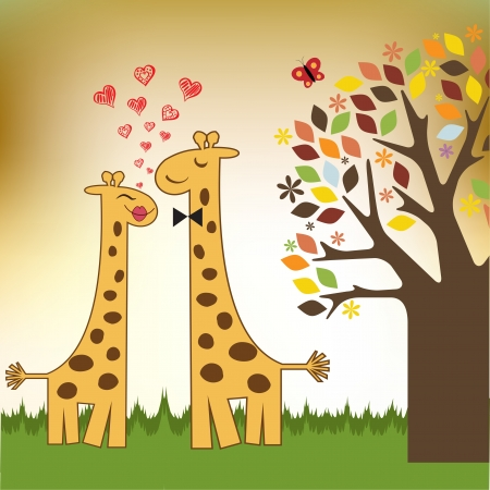 Funny giraffe couple in love Stock Vector - 14771061