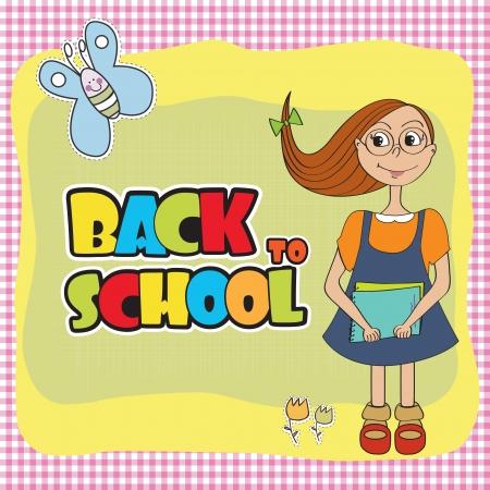Funny schoolgirl Vector