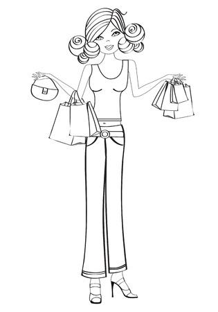 les jeunes filles à faire du shopping, illustration isolée sur fond blanc