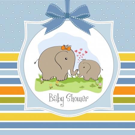 moeder met baby: baby douche-kaart met baby olifant en zijn moeder Stock Illustratie