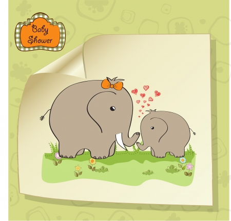 baby shower card with baby elephant and his mother Stock Vector - 15197295