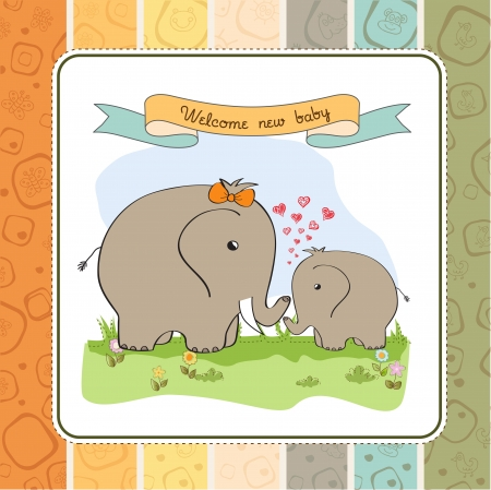 baby shower card with baby elephant and his mother Stock Vector - 15197302