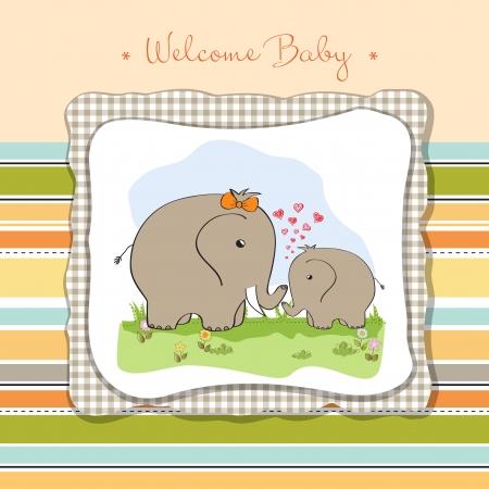 welcome smile: beb� ducha tarjeta con el elefante beb� y su madre Vectores