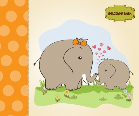 baby shower card with baby elephant and his mother Stock Vector - 15197297