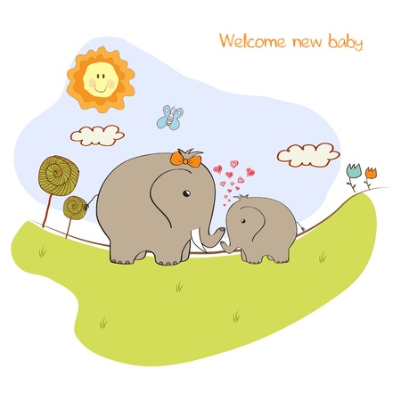 baby shower card with baby elephant and his mother Stock Vector - 15197290