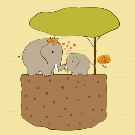 baby shower card with baby elephant and his mother Vector