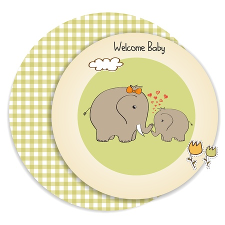 elephant nose: baby shower card with baby elephant and his mother