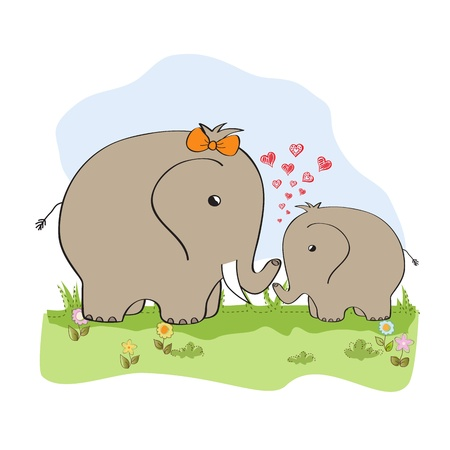 baby shower card with baby elephant and his mother Stock Vector - 15197291