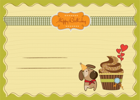birthday greeting card with cupcake and little dog