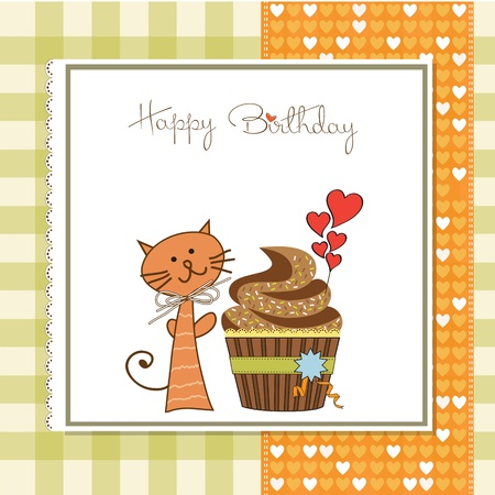 birthday greeting card with cupcake and cat 向量圖像