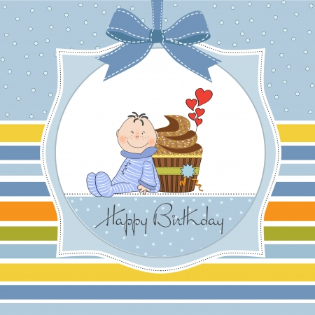birthday greeting card with cupcake and little baby Vector