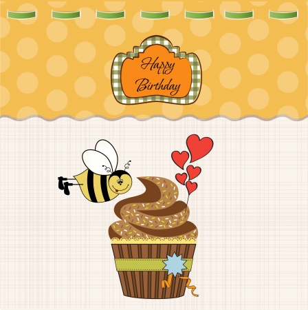 bee birthday party: birthday greeting card with cupcake and funny bee
