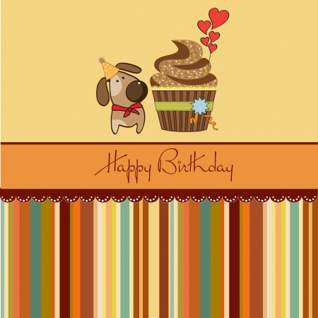 birthday greeting card with cupcake and little dog Vector