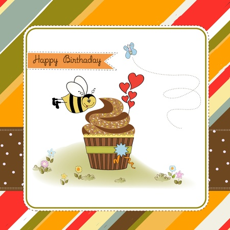 birthday greeting card with cupcake and funny bee