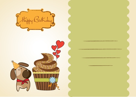 strip a dog: birthday greeting card with cupcake and little dog