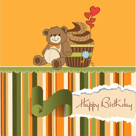 birthday greeting card with cupcake and teddy bear Vector