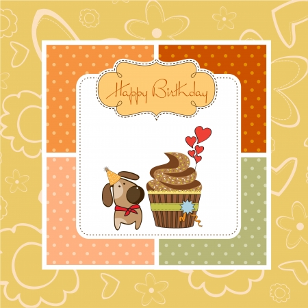birthday greeting card with cupcake and little dog Stock Vector - 14942664