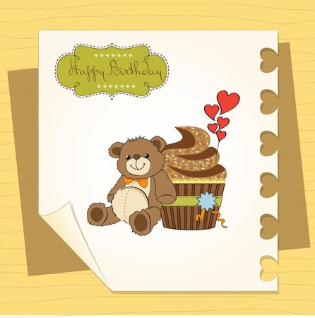 birthday greeting card with cupcake and teddy bear Illustration