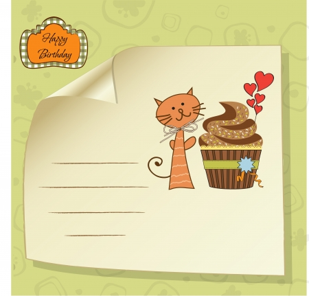 birthday greeting card with cupcake and cat Stock Vector - 14942619