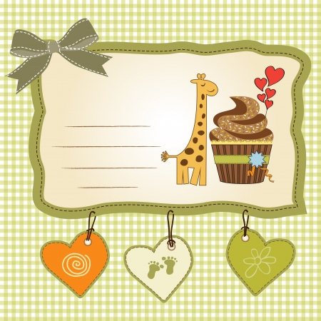 birthday greeting card with cupcake and giraffe Vector