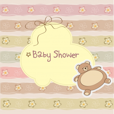 vintage baby: baby shower card with teddy