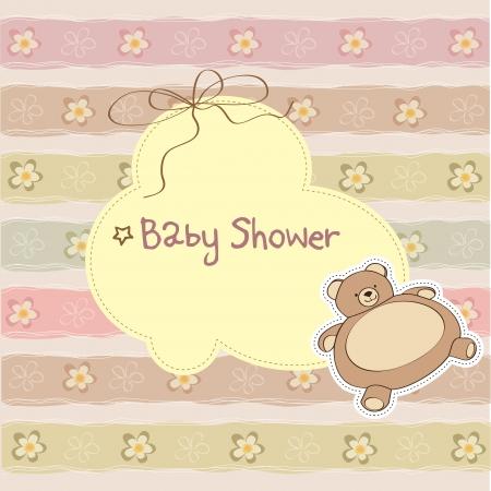 vintage teddy bears: bambino carta doccia con orsacchiotto Vettoriali