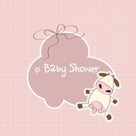 happy birthday girl: new baby announcement card with cow